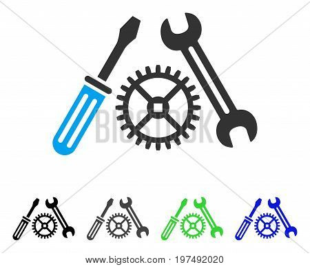 Tuning Service flat vector pictograph. Colored tuning service gray, black, blue, green pictogram variants. Flat icon style for graphic design.