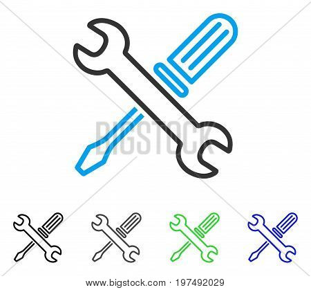 Tuning Tools flat vector pictogram. Colored tuning tools gray, black, blue, green icon variants. Flat icon style for graphic design.