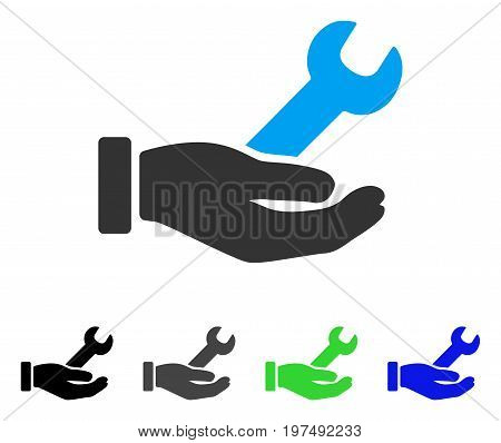 Wrench Service Hand flat vector icon. Colored wrench service hand gray, black, blue, green pictogram variants. Flat icon style for web design.