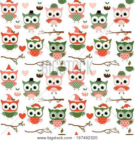 Cute Christmas and winter vector seamless pattern with cartoon owls hearts and branches in red green and pink colors on white background