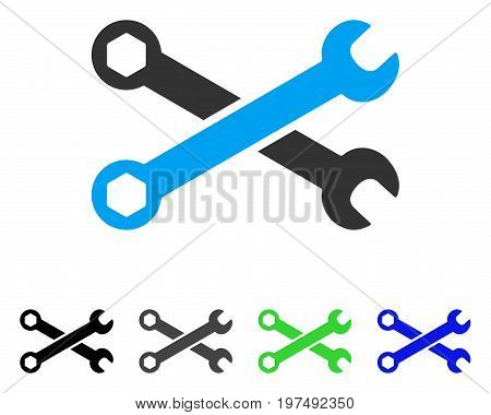 Wrenches flat vector icon. Colored wrenches gray, black, blue, green pictogram versions. Flat icon style for web design.