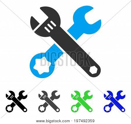 Wrenches flat vector illustration. Colored wrenches gray, black, blue, green icon versions. Flat icon style for web design.