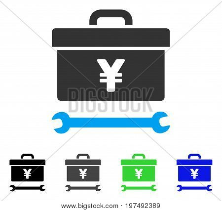 Yen Toolbox flat vector pictograph. Colored yen toolbox gray, black, blue, green pictogram versions. Flat icon style for application design.