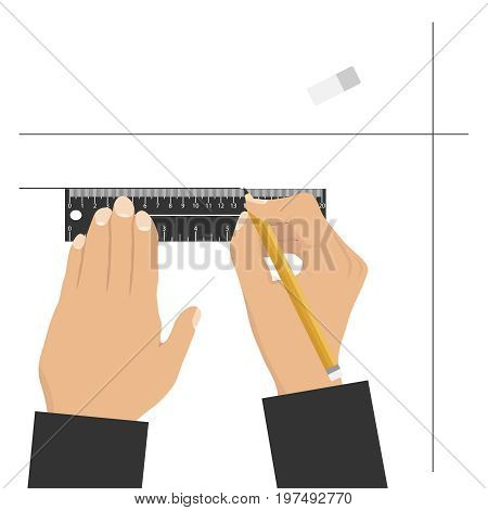 Hands hold a ruler and a pencil hands draw a pencil and a ruler. Flat design vector illustration vector.