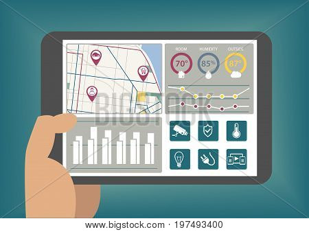 Hand holding tablet with smart home automation dashboard as vector illustration