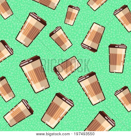 Seamless pattern with coffee takeaway on green background. Vector texture.