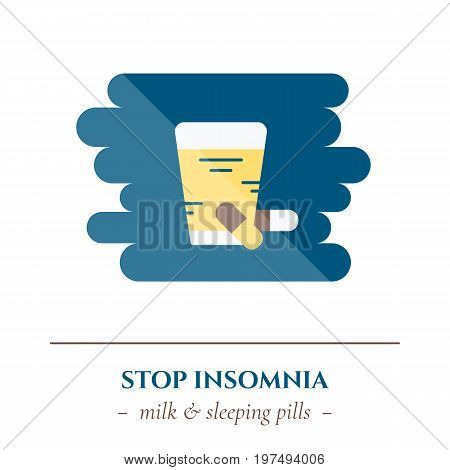 Vector simple flat icon for well healthy night sleep isolated on white background. Sleep medicine pills and draughts with glass of milk