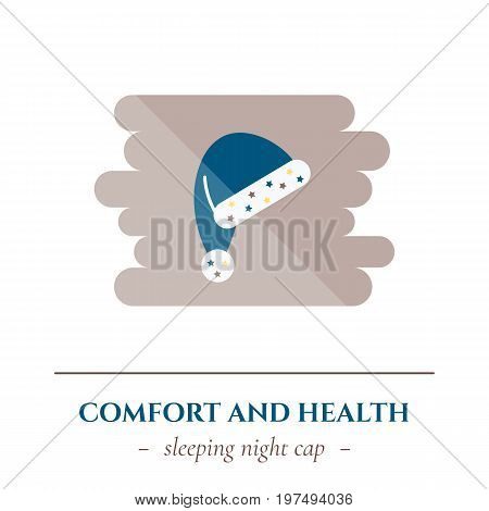 Vector simple flat icon for well healhty night sleep isolated on white background. Sleep night cap for hairs