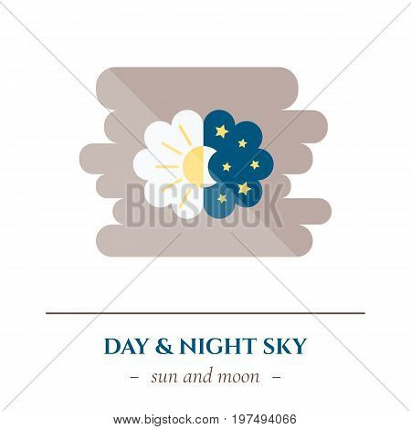 Vector simple flat icon for well healhty night sleep isolated on white background. Sleep nature moon and stars in the dark sky and sun in light sky. Changing of day and night.