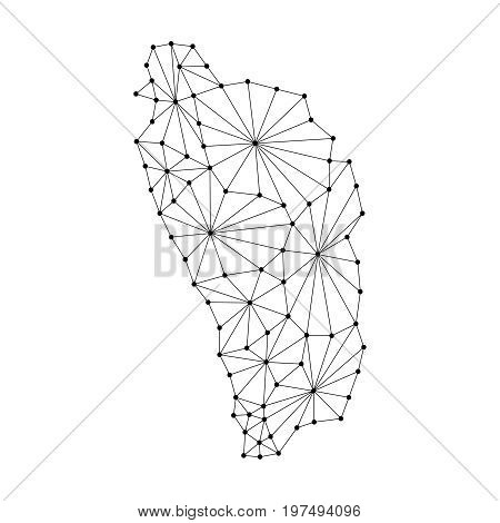 Dominica map of polygonal mosaic lines network rays and dots vector illustration.