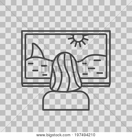 Isolated TV series thin lined outlined icon on transparent background. Vector sig for design of apps, interfaces, web sites, banners, presentations, etc.
