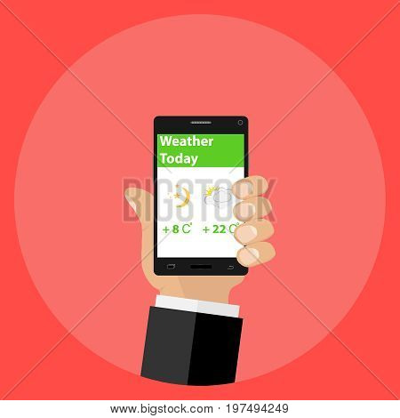 Mobile weather forecast view the weather forecast by phone. Flat design vector illustration vector.