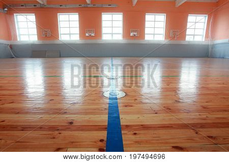 Basketball hall indoor wood parquet field room
