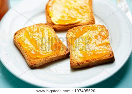 Rusk with apricot jam on white plate and blue surface