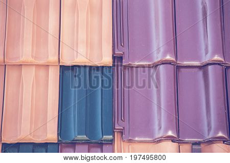 Closeup Of Colored Clay Roof Tiles Background 3