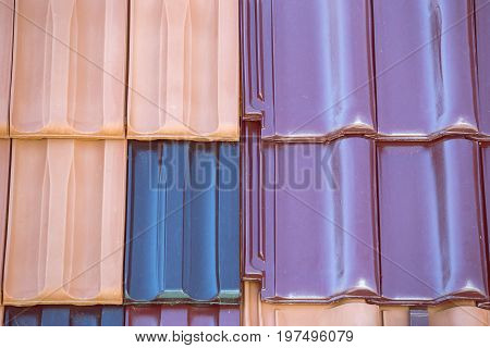 Closeup Of Colored Clay Roof Tiles Background 5