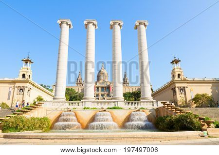 Square of Spain - facade of National museum of Barcelona, Catalonia Spain