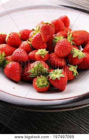 Fresh Strawberry. Loosely Laid Strawberries In Different Positio