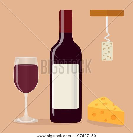 A bottle of wine a glass of wine a corkscrew and cheese. Flat design vector illustration vector.