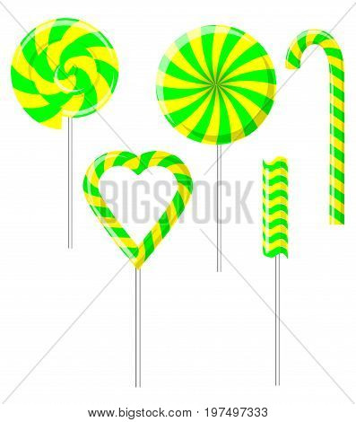 Vector illustration of different sweets. Candy cane, swirl lollipop, heart lollipop, round lollipop