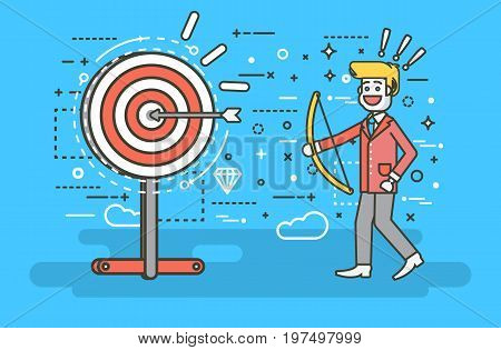 Stock vector illustration businessman hits target successful shot from bow advancement right solution excellent business success marketing achievement idea progress victory start-up line art style.