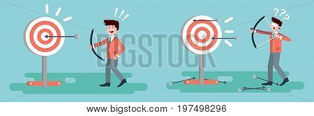 Stock vector illustration businessman hits target unsuccessful and successful shot from bow right wrong solution business failure or excellent marketing unlucky idea win loss start-up in flat style.