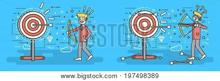 Stock vector illustration businessman hits target unsuccessful and successful shot from bow right wrong solution business failure or excellent marketing unlucky idea win loss start-up line art style.