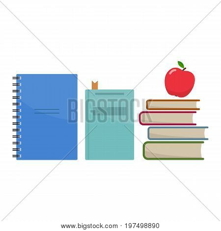 Stack of school books and apple symbolof education. First day of school Back to school flat icons. Vector