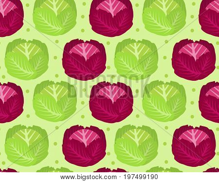 Cabbage seamless pattern. Red cabbage endless background, texture. Vegetable background. Vector illustration