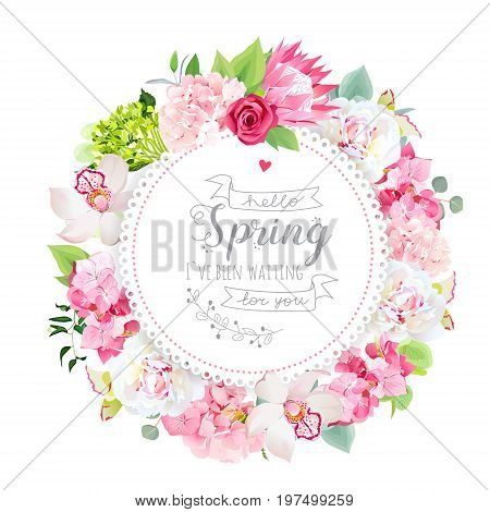 Summer floral vector round card with pink hydrangea, orchid, white peony, protea, rose flowers, mint eucalyptus, mixed green plants. Invitation stylish frame. All elements are isolated and editable.