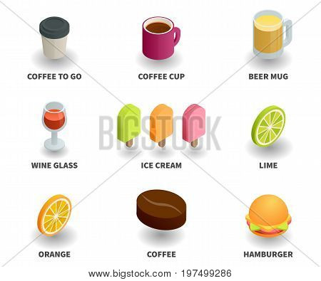 Simple Set of 3D Isometric Icons. Contains such Icons as coffee to go coffee cup beer mug wine glass ice cream lime orange coffee grain hamburger.