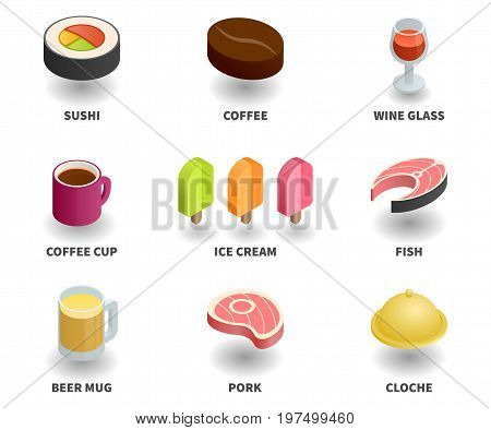 Simple Set of 3D Isometric Icons. Contains such Icons as sushi wine glass coffee cup fish ice cream beer mug pork coffee grain cloche.