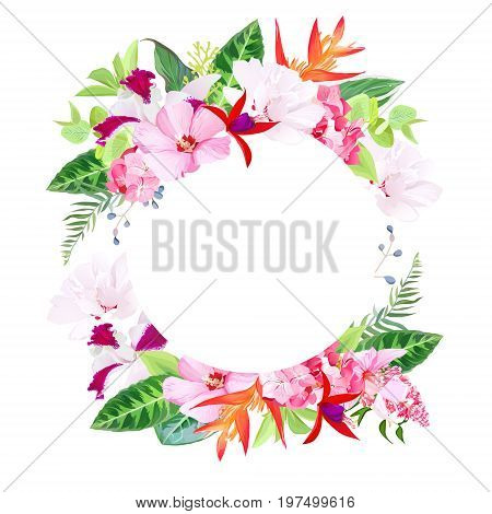 Beach party vector design round card. Exotic tropical flowers. Hibiscus, medinilla, orchid, hydrangea, orange strelitzia bird of paradise flower, red fuchsia. All elements are isolated and editable