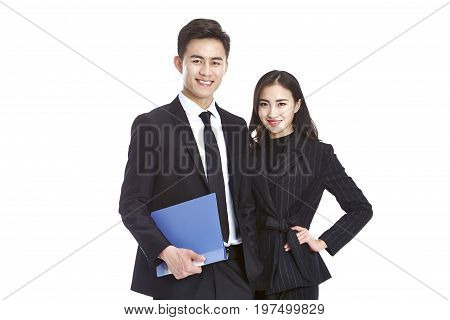 studio portrait of young asian corporate business man and woman looking at camera smiling isolated on white background.
