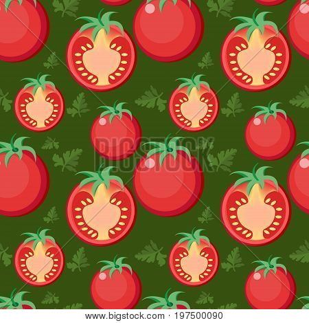 Tomato seamless pattern. Tomatoes endless background, texture. Vegetable backdrop. Vector illustration