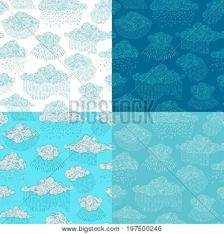 Vector set of rainy seamless patterns. Doodles clouds and rain drops. Cartoon boundless wet weather background. Hand-drawn swirls spirals and curls.