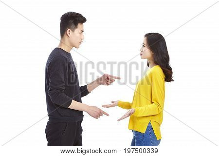 quarreling young asian couple isolated on white background.