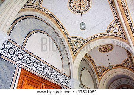 CHERNIVTSI, UKRAINE - APRIL 22, 2017: Beautiful patterns on the ceiling in Chernivtsi University, Western Ukraine, Europe