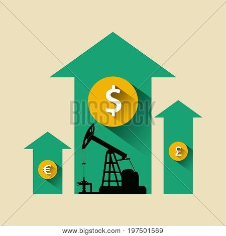 Oil Industry Concept. Oil Price Growing Up Arrow With Petroleum Pump And Dollar, Pound, Euro Coin.