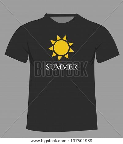 T-shirt template with sun icon . Front illustration art design