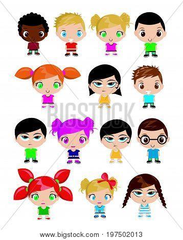 Group of kids vector illustration on white