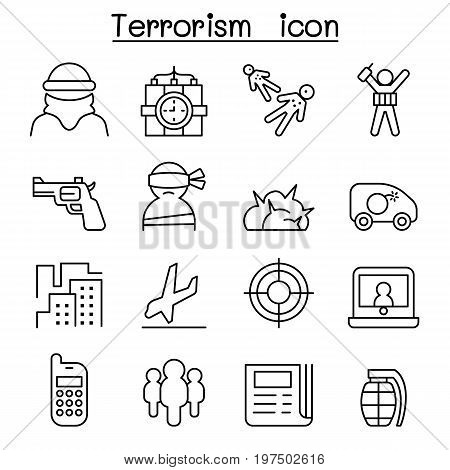 Terrorism icon in thin line style vector illustration graphic design