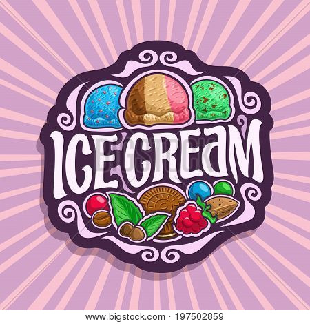 Vector logo for Ice Cream: 3 scoop balls of blue bubble gum ice cream, neapolitan sundae dessert, mint chocolate chip gelato icecream, in vintage sign lettering title - ice cream on pink background.