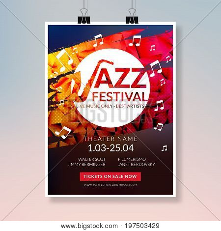 Vector musical flyer Jazz festival. Music concert poster background festival brochure flyer template.