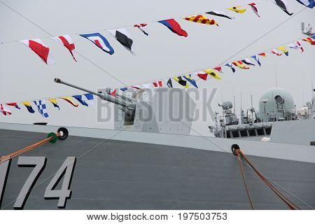Saint-Petersburg, Russia - Jul 29 2017: The gun of the ship Chinese Navy destroyer