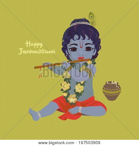Krishna janmashtami greeting card. Dahi handi festival vector illustration with little Krishna playing the flute.