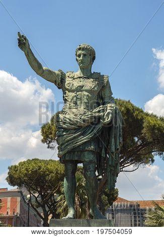 Naples, Italy - may 18, 2017: ancient statue of Gaius Julius Caesar in Naples, Italy