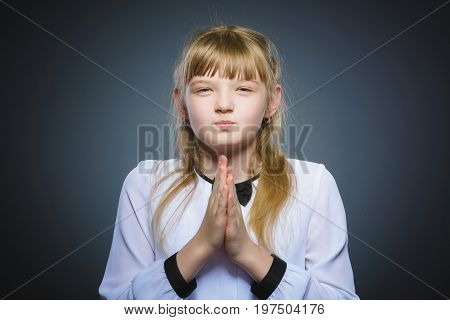 girl cunning, studio photo isolated on a gray background.