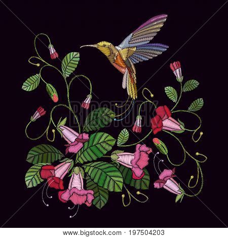 Embroidery flowers bells and humming bird. Fashionable template for design of clothes. Beautiful cornflowers and humming bird classical embroidery vector