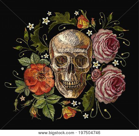 Embroidery skull and red roses. Dia de muertos day of the death art. Gothic romanntic embroidery human skulls red roses and pink peonies clothes template and t-shirt design vector art